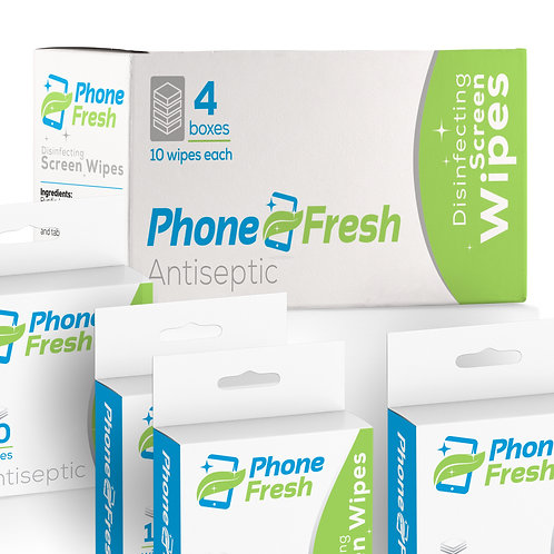 Double Pack of PhoneFresh 4 x 10 Wipe Boxes