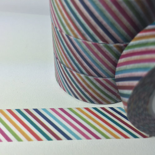 Rainbow Thin Diagonal Stripe 15mm