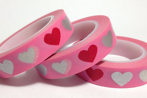 Thin Pink/Silver Hearts on Pink 10mm