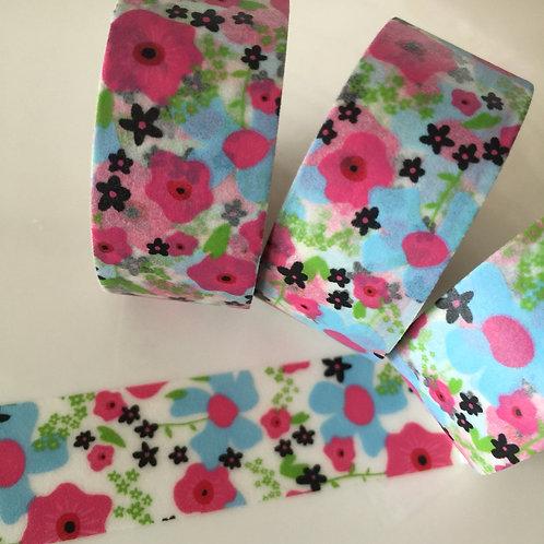 Wide Blue Pink Black Floral 20mm