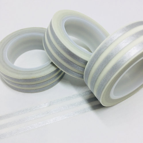 Triple Silver Lines Stripes 15mm