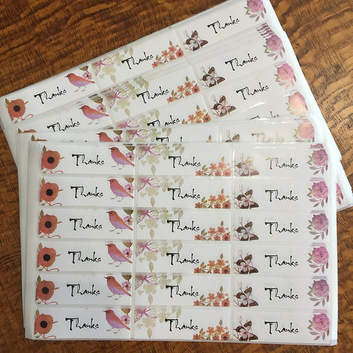 36 'Thanks' Sticker Seals Rectangular 55mm x 17mm