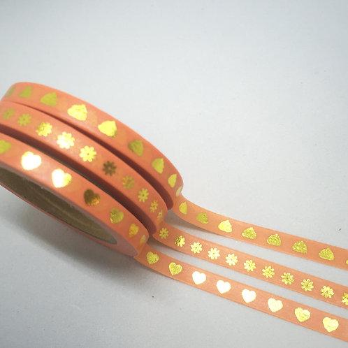 Planner Essentials Skinny Foil Washi 3 Piece Set - Orange