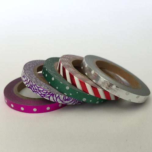 Foil Washi Skinny 5mm Patterned - 5 Piece Set