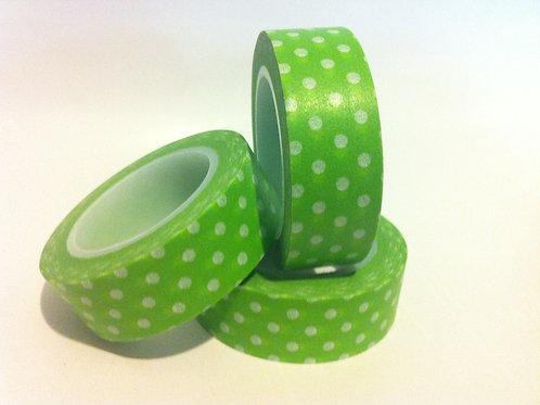 Polka Dots on Green 15mm