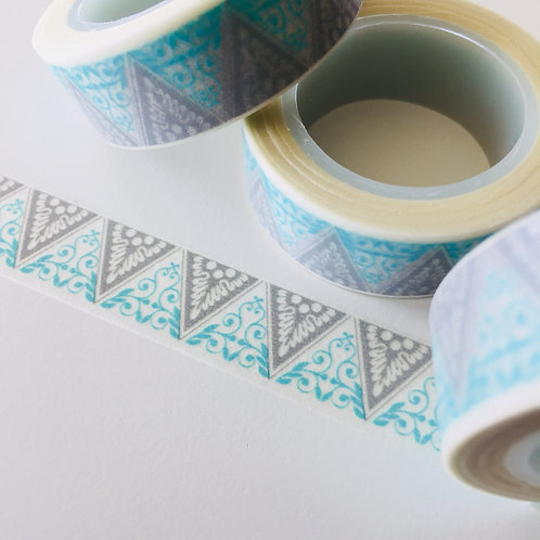 Blue & Grey Lace Triangles 15mm