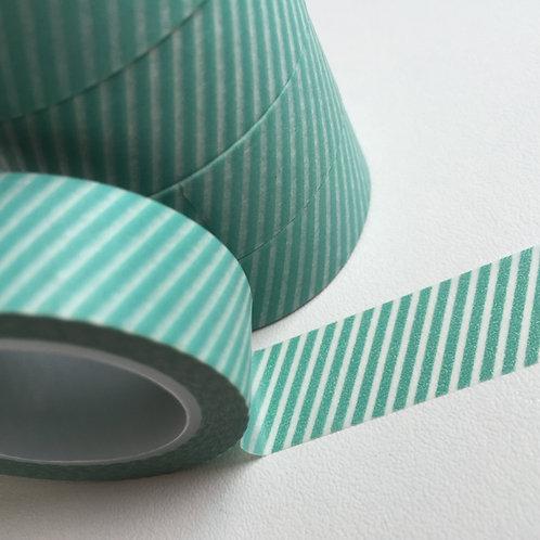 Fine Aqua Diagonal Stripe