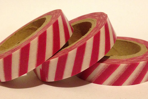 Thin Deep Pink Diagonal Stripe 10mm