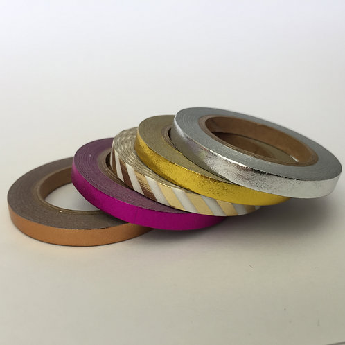 Foil Washi Skinny 5mm Plains - 5 Piece Set