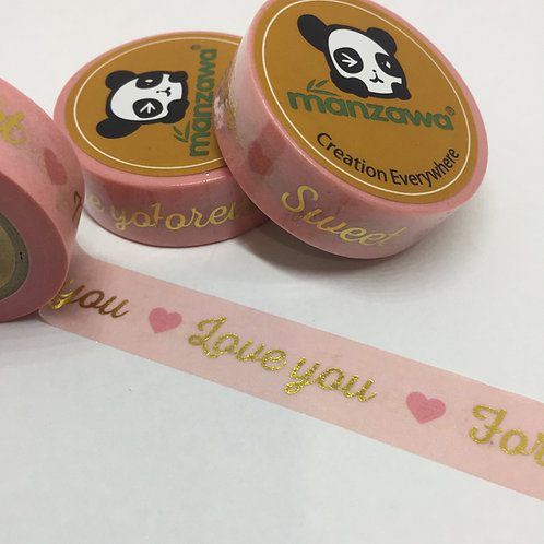 Gold Foil Sentiments Sweet Miss You Love You Forever on Pink 15mm