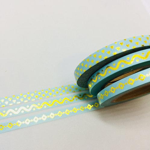 Planner Essentials Skinny Foil Washi 3 Piece Set - Mint Diamonds Wavey Line