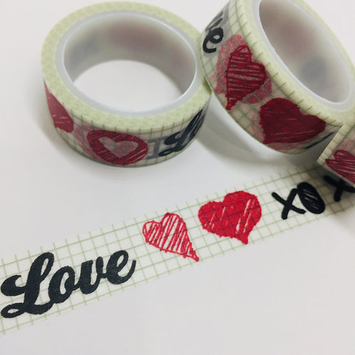 SUPER VALUE Love & Hearts on Grey Grid 15mm