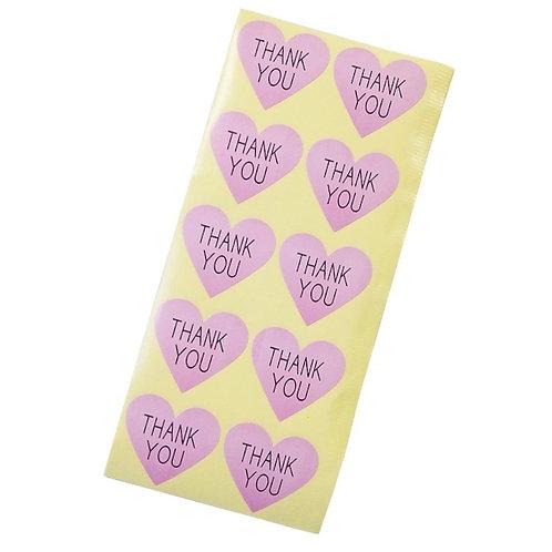 20 Pink Heart Shaped Thank You Sticker Seals