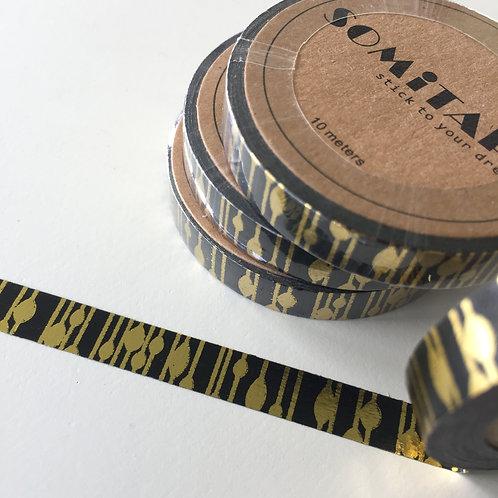 Somi Skinny Thin Gold Foil Forest on Black 7.5mm