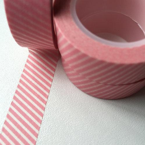 Pink Thin Diagonal Stripe 15mm