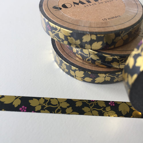 Somi Skinny Thin Gold Foil Vine & Flower on Black 7.5mm