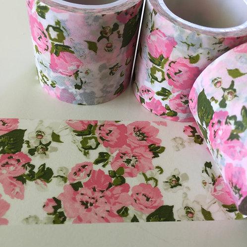 Extra Wide Vintage Pink & Olive Floral 40mm