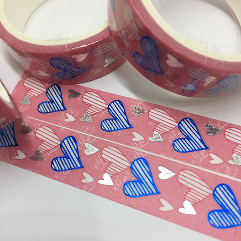 Silver & Blue Foil Hearts on Pink 15mm