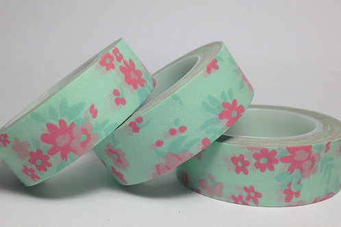 Pink on Mint Floral 15mm