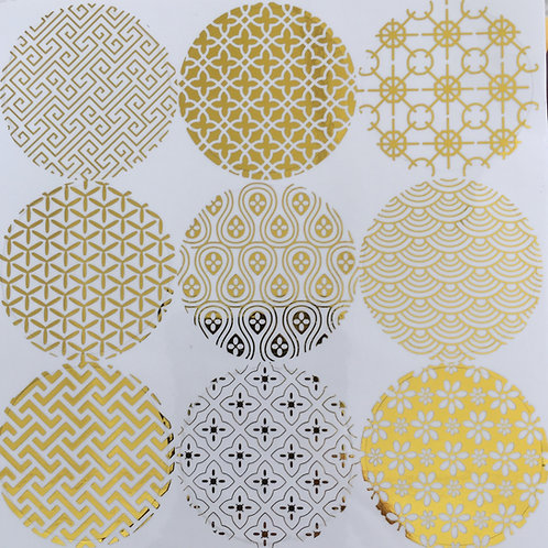 Stickers - Gold Foil on Clear - 2 sheets 18 pieces