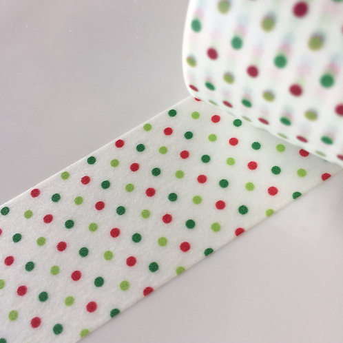 Wide Festive Spots Red Green & Lime  30mm