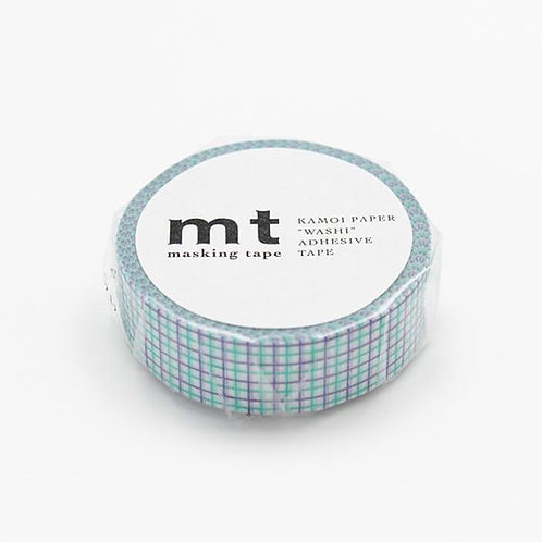 MT Masking Tape Grid Mint & Marine Blue 15mm MT01D274