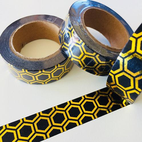 Gold Foil Honeycomb on Black 15mm