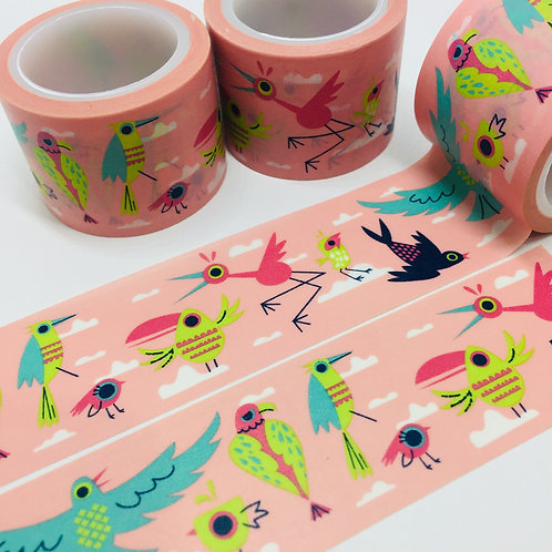 Wide Whacky Birds on Pink 30mm