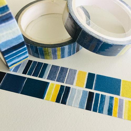 Thin Skinny Blue Lemon Watercolour Stripe 10mm