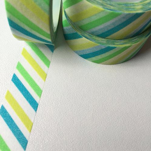 Lime Splice Diagonal Stripe 15mm