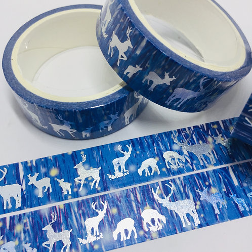 Silver Foil Holographic Deer on Blue 15mm