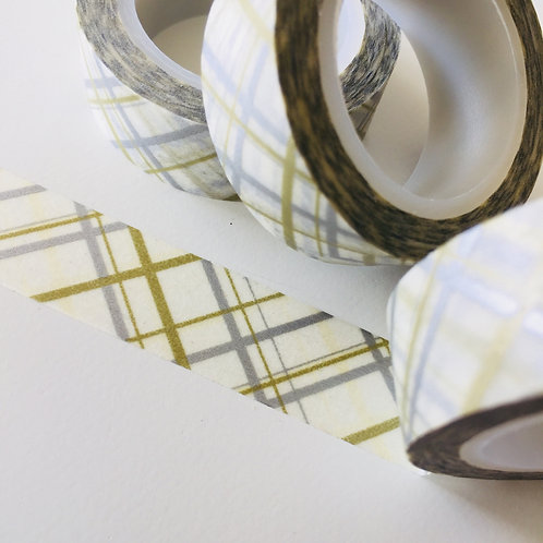 Gold & Silver Tartan 15mm