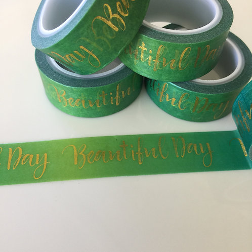 Foil Washi Beautiful Day - Gold Foil on Green