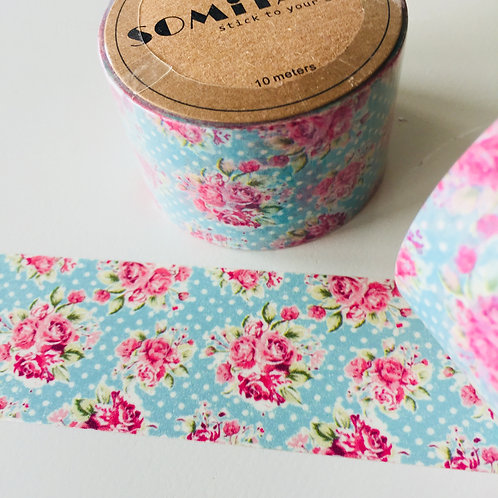 Somi Wide Pink Roses on Blue with Polka Dots 30mm