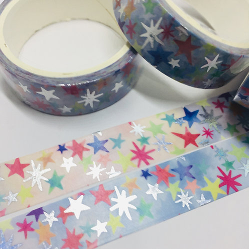 Silver Foil Holographic Rainbow Stars 15mm
