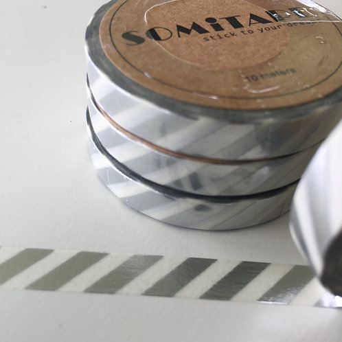 Somi Skinny Thin Silver Foil Diagonal Stripe 7.5mm