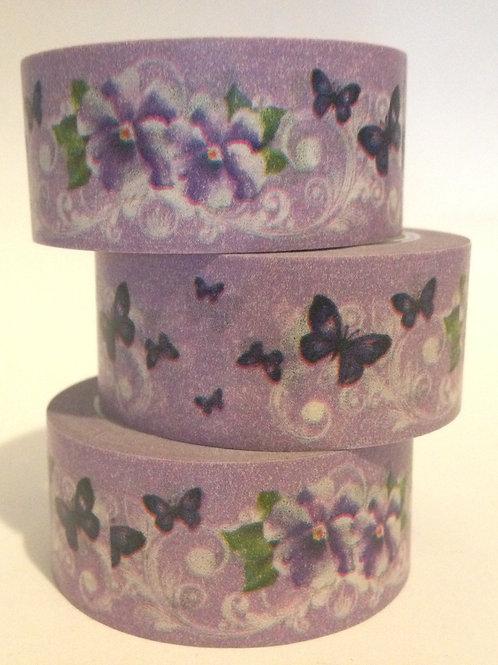 Wide Pansies & Butterflys 20mm