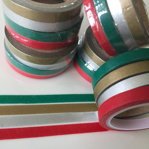 Thin Festive 4 Roll Set 5mm Red Green Gold Silver