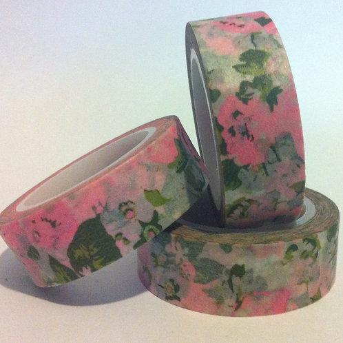 Vintage Pink Olive Floral 15mm
