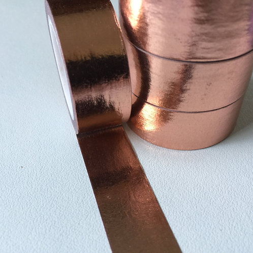 Foil Washi - Solid Colour Copper/Rose Gold 15mm