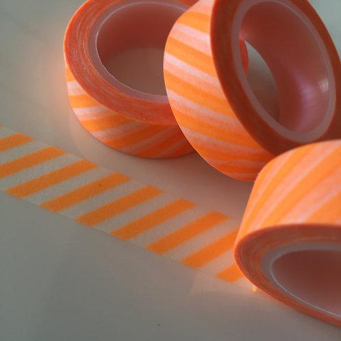 Neon Orange Diagonal Stripes 15mm