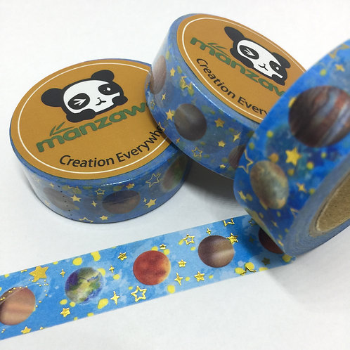 Gold Foil Stars & Planets on Blue 15mm
