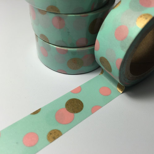 Pink & Gold Spots on Mint 15mm