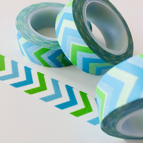 Cool Blue & Green Chevron 15mm