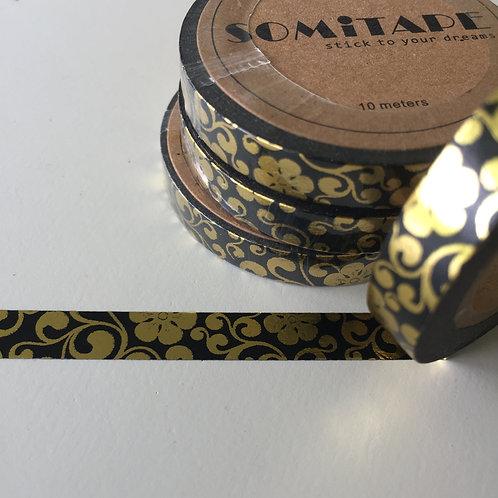 Somi Skinny Thin Gold Foil Funky Floral on Black 7.5mm
