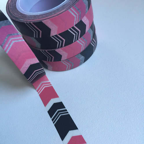 Thin Pink & Black Chevron