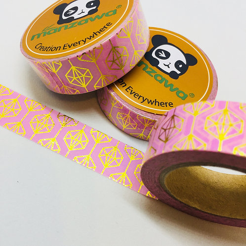 Gold Foil Geometric on Pink 15mm