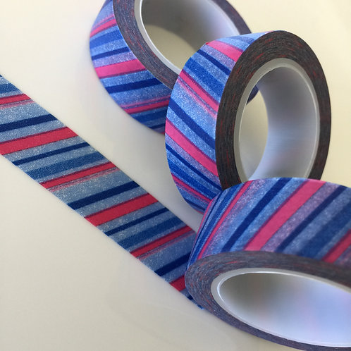 Red & Blue Diagonal Stripe 15mm