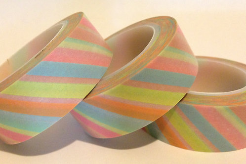 Pale Pastel Diagonal Stripes 15mm
