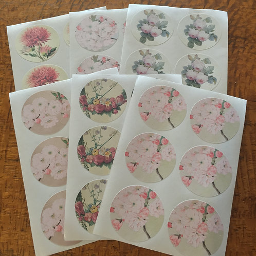 36 Vintage Style Floral Stickers 6 Designs 6 Pieces of each Design 38mm